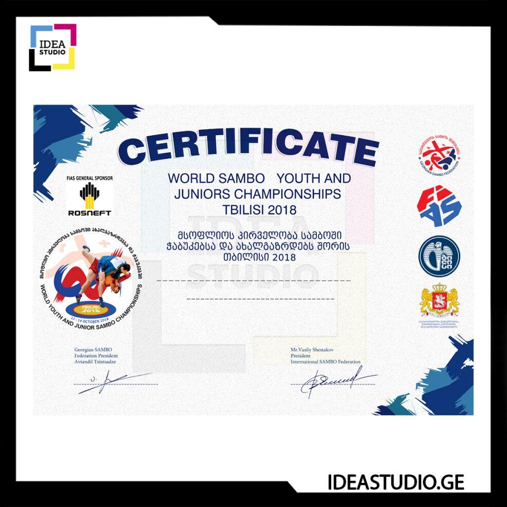 Certificate Sambo ФОТО РАБОТ IDESTUDIO ДЛЯ INSTAGRAM